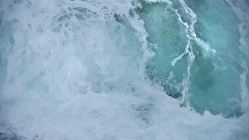 Flutwelle - Kraft der Natur - Meer - Wasser - Plätschernde Welle - Plätschern - Malerei von Schildersatelier van der Ven