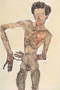 Grimassierendes Aktselbstbildnis, Egon Schiele - 1910 von Atelier Liesjes