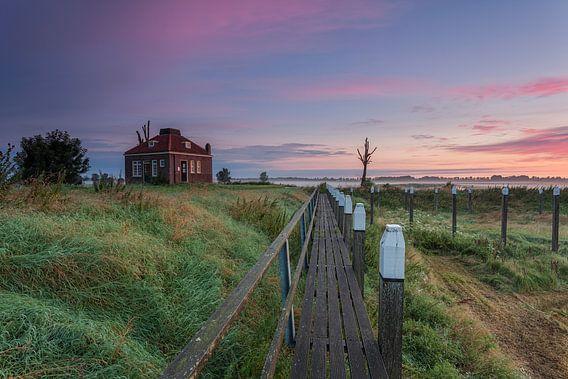 Zonsopkomst Schokland provincie Flevoland,Nederland.