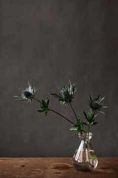 Foto print van drie distels in glazen vaasje tegen grijze achtergrond van Jenneke Boeijink