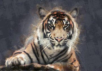 Olieverf portret van een tijger