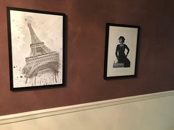 Kundenfoto: Eiffelturm Aquarell | grau von Melanie Viola