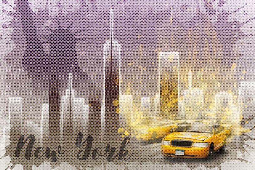 Graphic Art NEW YORK Mix No. 6 | purple | splashes van Melanie Viola