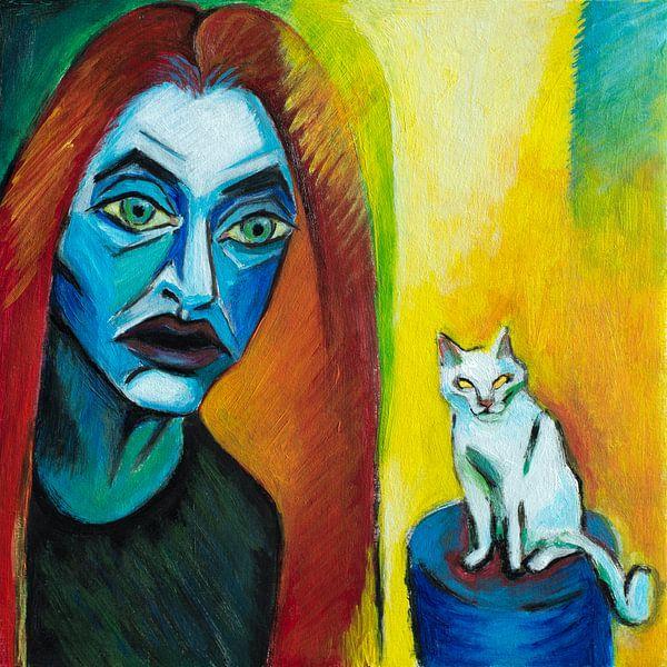 Girl With Cat (A la Kirchner) van Marina Coric