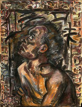 Mann im Rahmen, hebräischer Text, Arno Nadel von Atelier Liesjes