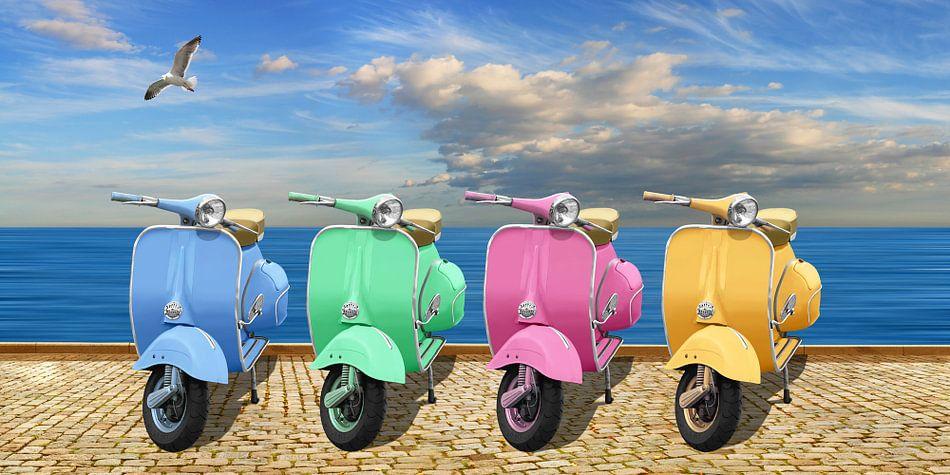 Bunte Vespa-Motorroller