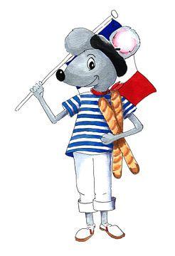Franse muis met vlag en stokbrood van Ivonne Wierink