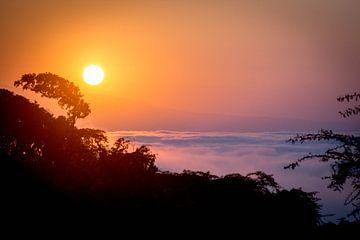 Untergehende Sonne über dem Ngoro Ngoro Krater von Julian Buijzen
