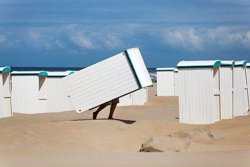 Strandhuisjes bij Katwijk aan Zee van Evert Jan Luchies