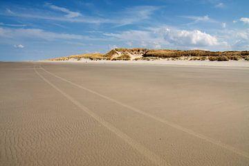 Strand scene met zandduinen op de achtergrond van Jan Brons