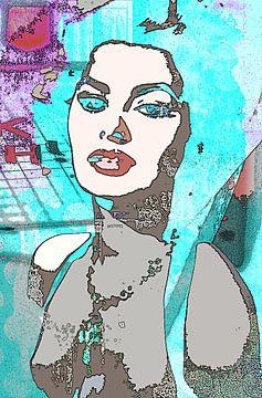 Sophia Loren blue von PictureWork - Digital artist