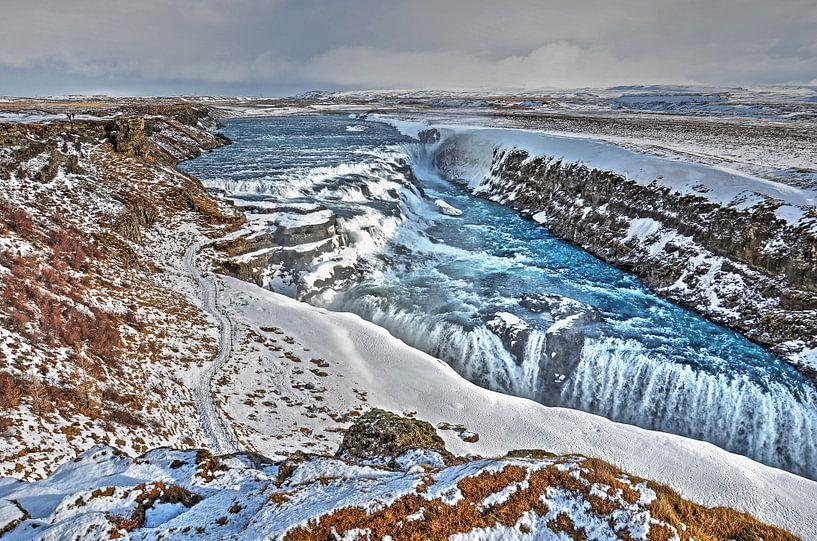 Gullfoss in de winter van Frans Blok