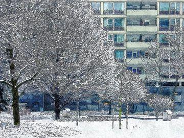 Winterbeeld Lijnbaanhoven sur Frans Blok