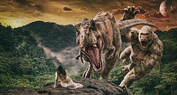 Vrouw in nood, aangevallen door een T-Rex van Atelier Liesjes