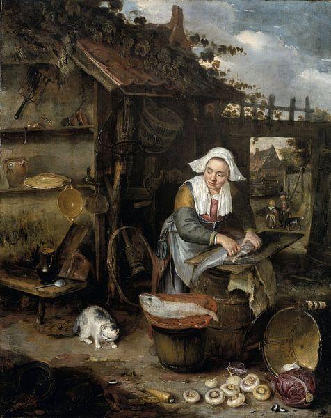 Eine Hausfrau in einem Innenhof, die Fische putzt, Hendrik Potuyl. von Meesterlijcke Meesters