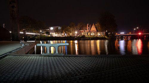 Boot steiger in stadscentrum van Zwolle, Overijssel