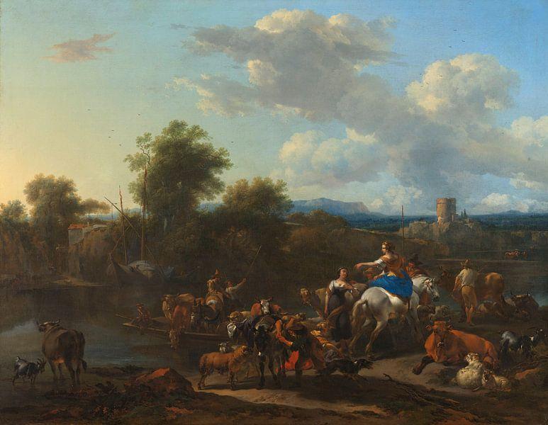 The Cattle Ferry, Nicolaes Berchem von Meesterlijcke Meesters
