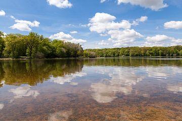 reflecterende wolkenlucht in een bosmeertje van Bernadet Gribnau