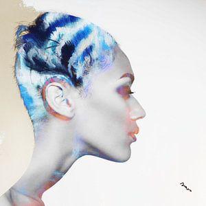 28. Vrouw, silhouet, portret, Blue Moon. van