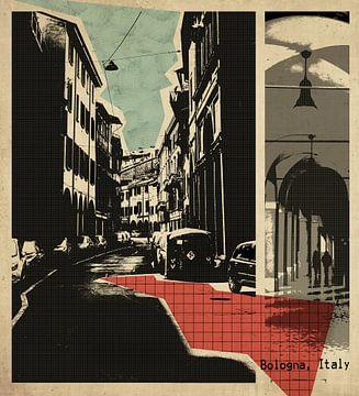 retro ansichtkaart van Bologna, Italië van