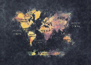 Weltkarte schwarz gelb #Karte #Weltkarte von JBJart Justyna Jaszke