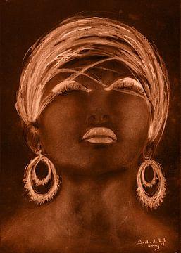 Afrikaanse vrouw in een gouden zonnegloed. van Ineke de Rijk