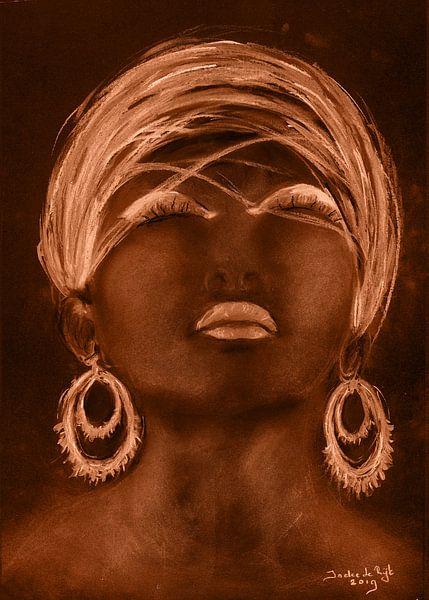 Afrikanische Frau in goldenem Sonnenschein. von Ineke de Rijk