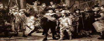 De Nachtwacht van Rembrandt in Sepia van Alex Hiemstra