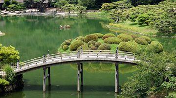 Japanse brug in Rutsurin Koen tuin in Japan van Aagje de Jong
