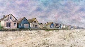 Aquarel van de Franse kust Normandië van
