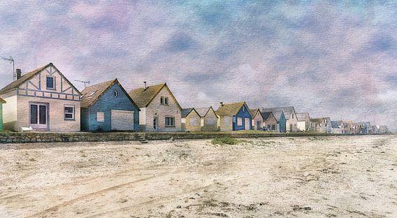 Aquarel van de Franse kust Normandië