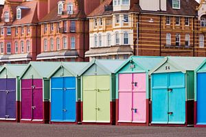 Colorful huts at the seafront in Brighton