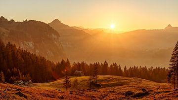 Zonsondergang in Ybrig, Kanton Schwyz van Pascal Sigrist - Landscape Photography