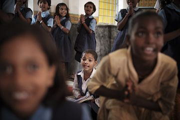 schoolkinderen in india van Karel Ham