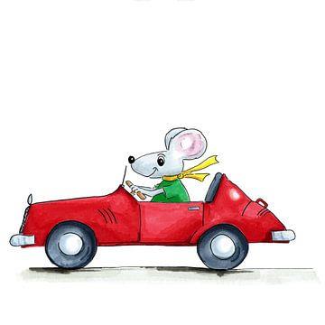 Illustration einer Maus in einem Sportwagen von Ivonne Wierink