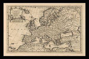 Oude kaart van Europa van omstreeks 1725