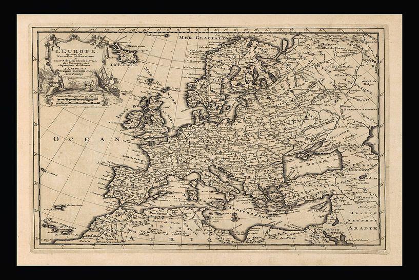 Oude kaart van Europa van omstreeks 1725 van Gert Hilbink