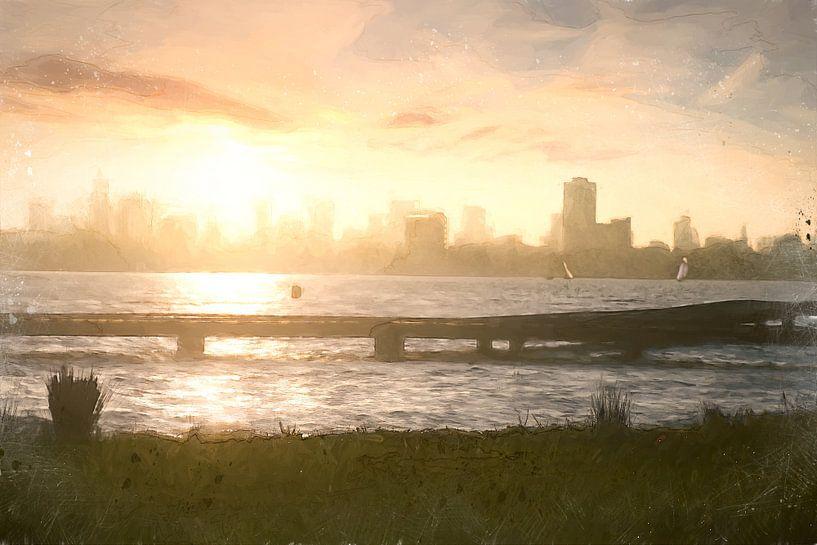 Lac Kralingse peint au coucher du soleil sur Arjen Roos