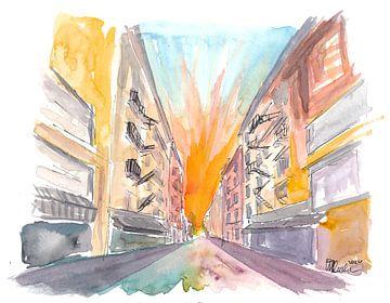 Manhattan Straßenszene mit Backsteingebäuden von Markus Bleichner