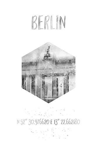 Coördinaten BERLIN Brandenburger Tor | Aquarel Monochroom van Melanie Viola