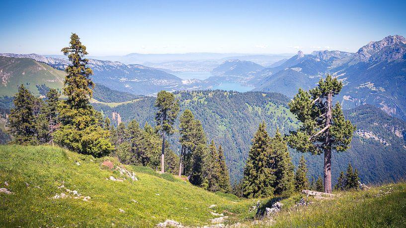 Uitzicht over het Meer van Annecy vanaf de La Sambuy in de Franse Alpen van Karel Pops