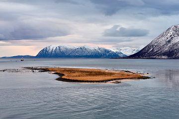 Seelandschaft met Bergen und Insel, Norwegen von Gerda Beekers