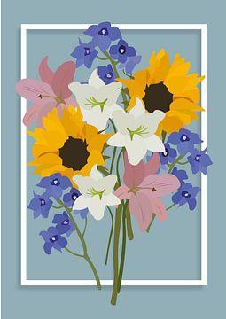 Bouquet de fleurs, illustration bleue sur Nynke Altenburg