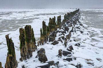 Schneeschauer über dem Wattenmeer