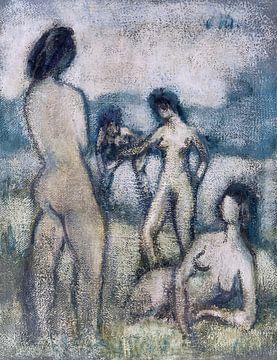 Vier badgasten (staand en liggend naakt), OTTO MUELLER, ca.1910 van Atelier Liesjes