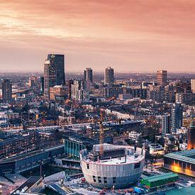 Rotterdam sunset skyline van Ilya Korzelius