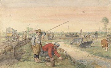 Fischer mit Keschern entlang eines Treidelpfades, Hendrick Avercamp, 1595 - 1634