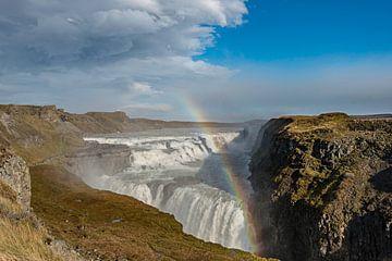 La Gullfoss, la plus grande cascade du sud de l'Islande sur Gerry van Roosmalen