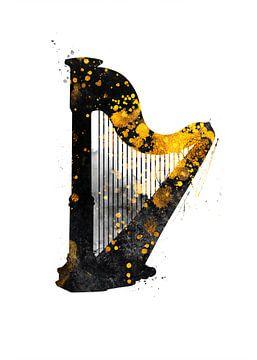 Harfe Musikinstrument schwarz und gold #Harfe von JBJart Justyna Jaszke