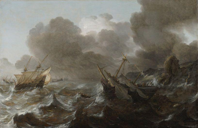 Schepen in een storm, Jan Porcellis van Meesterlijcke Meesters